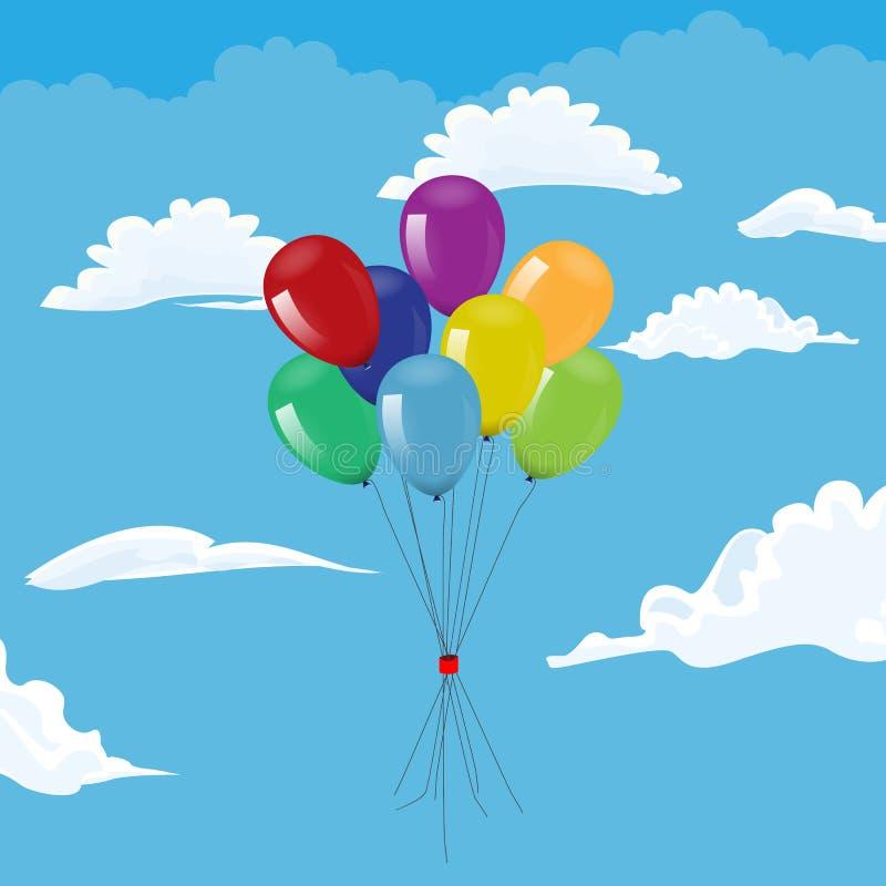 飞行在多云天空的束气球 也corel凹道例证向量 库存例证