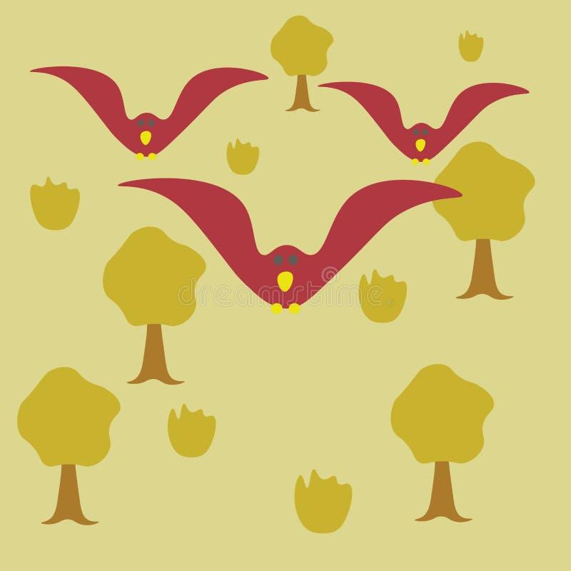 飞行在森林万圣节卡片的阴沉的鸟 鸟舍 库存例证
