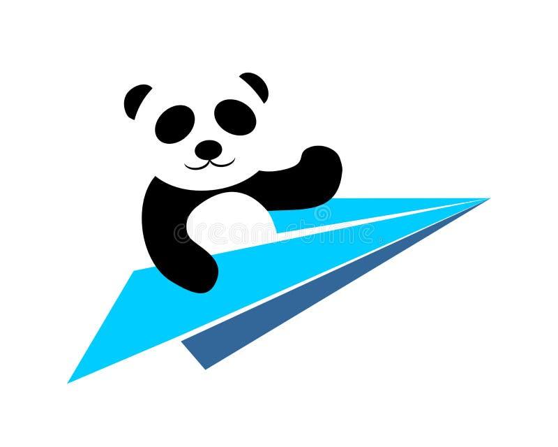 飞行的熊猫商标传染媒介 库存例证