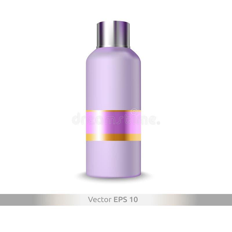 香波、胶凝体或者化妆水塑料瓶隔绝了 化妆用品嘲笑 免版税库存图片