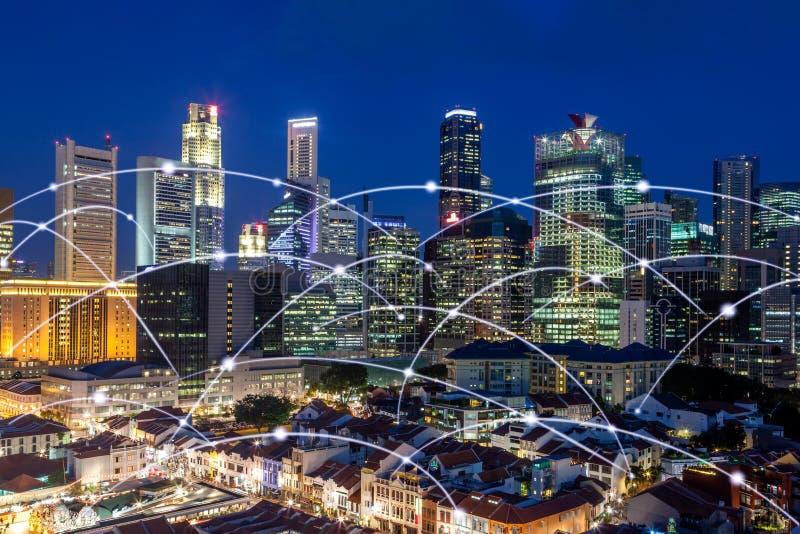 香港市地平线网络连接概念,现代过滤器作用 免版税库存照片
