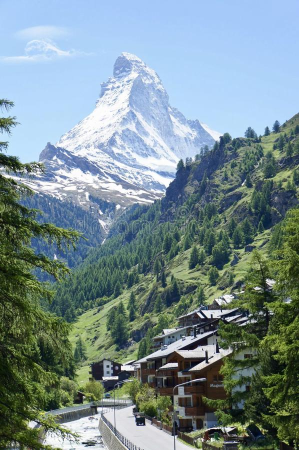 马塔角山顶在策马特,瑞士 免版税图库摄影