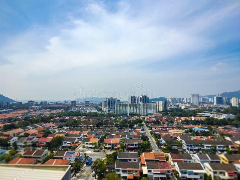 马来西亚的美丽的景色 城市地平线在槟榔岛 库存照片