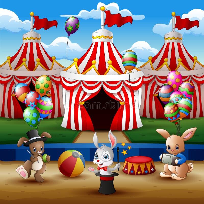 马戏团动物展示和杂技演员表现在竞技场 向量例证