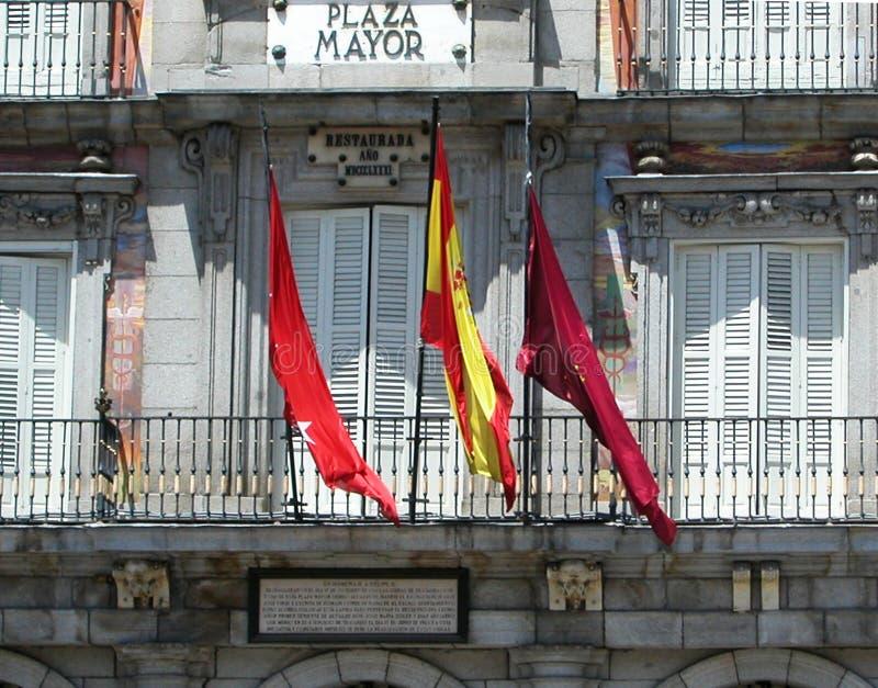马约尔广场,一个中心广场在马德里,西班牙 免版税库存照片