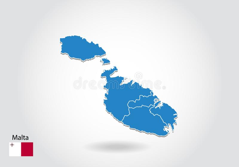 马耳他与3D样式的地图设计 蓝色马耳他地图和国旗 与等高,形状,概述的简单的传染媒介地图,在白色 向量例证