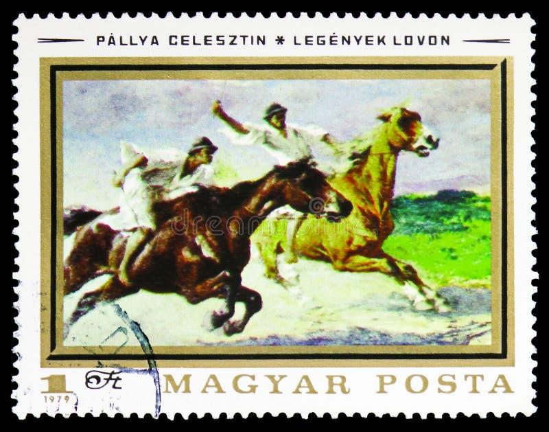 骑师着陆Celesztin Pallya,绘画serie,大约1979年 免版税图库摄影