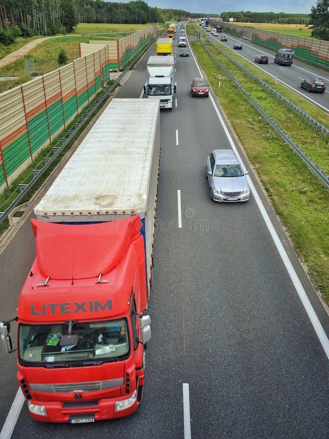 A2高速公路在波兰 库存图片