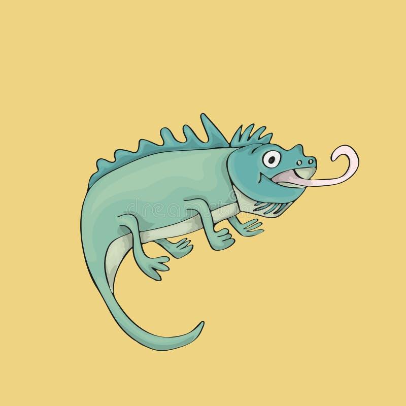鬣鳞蜥逗人喜爱在沙子颜色背景 被隔绝的漫画人物 库存例证