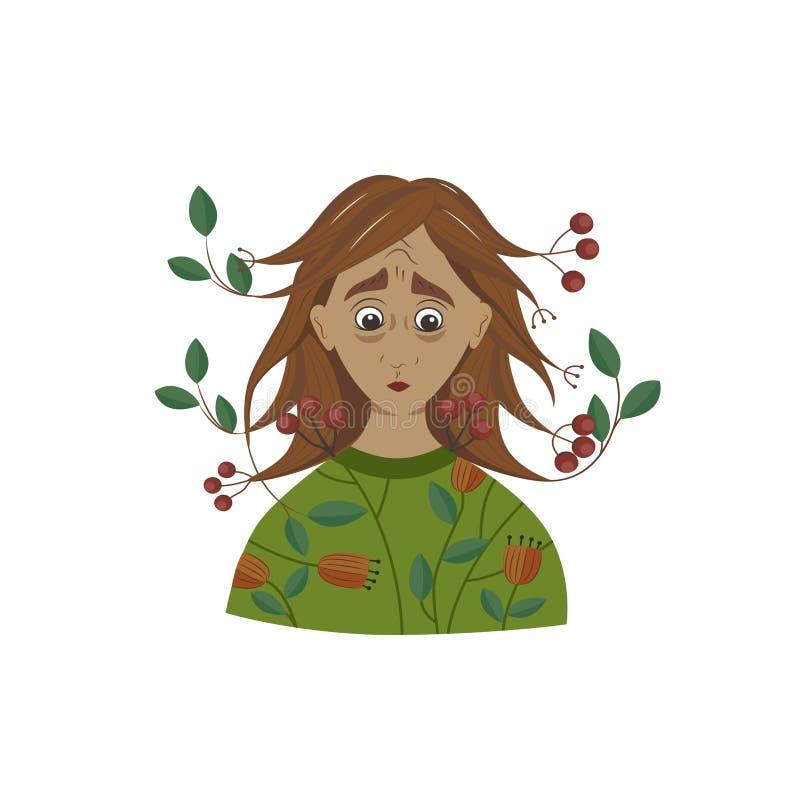 魔术、童话当中女孩用莓果和叶子在头发 哀伤的女孩 自然 库存例证