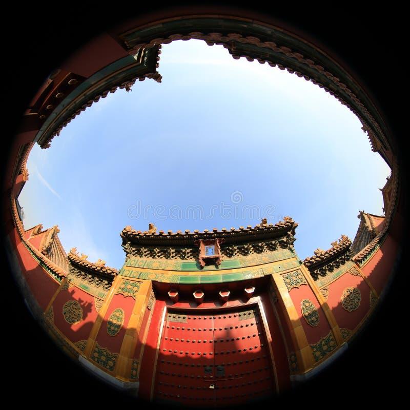 鱼眼睛北京故宫博物院透镜摄影有独特的视觉的 免版税库存图片