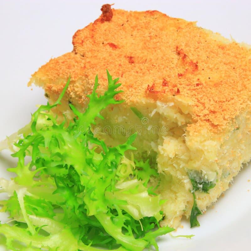 鳕鱼brandade和莴苣叶子 图库摄影