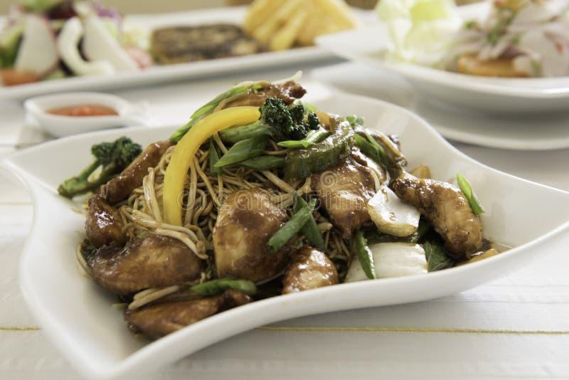 鸡食物mein一个普遍的东方盘可利用在汉语去掉 免版税库存图片