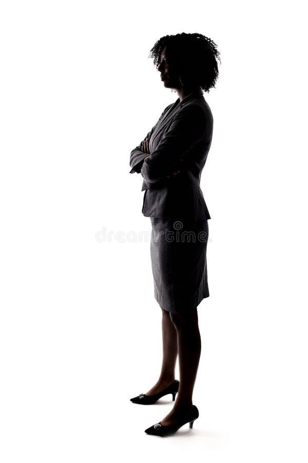 黑人女实业家的剪影 免版税库存图片