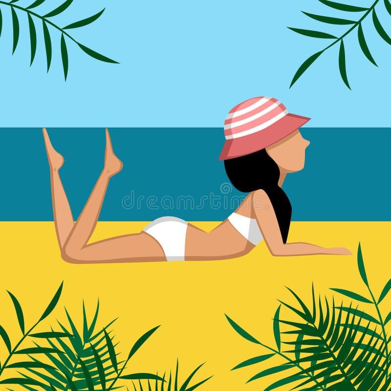 黑发女孩在泳装和帽子的一个海滩说谎 库存例证