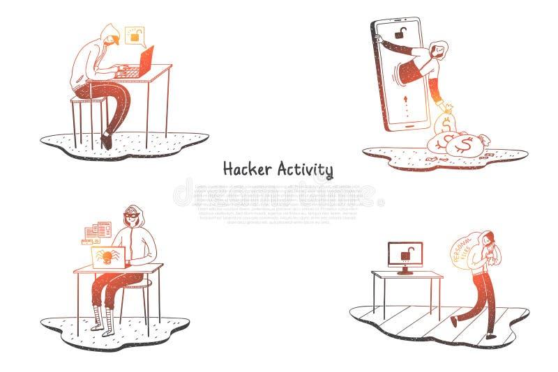 黑客活动-设法的黑客毁坏数字系统和得到信息向量概念集合 库存例证