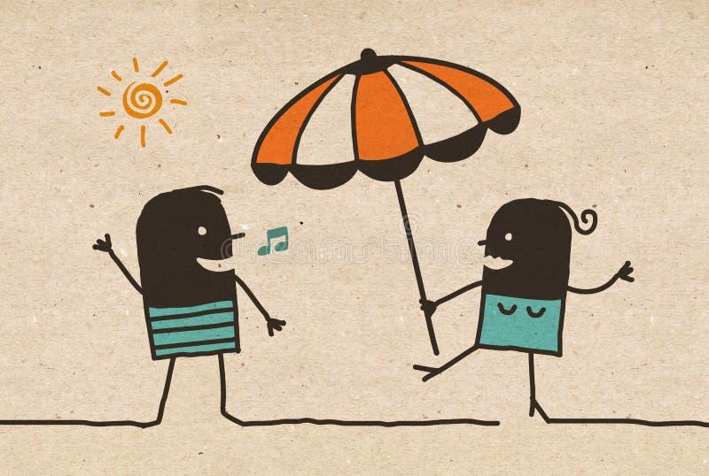 黑动画片夏天加上遮阳伞 皇族释放例证