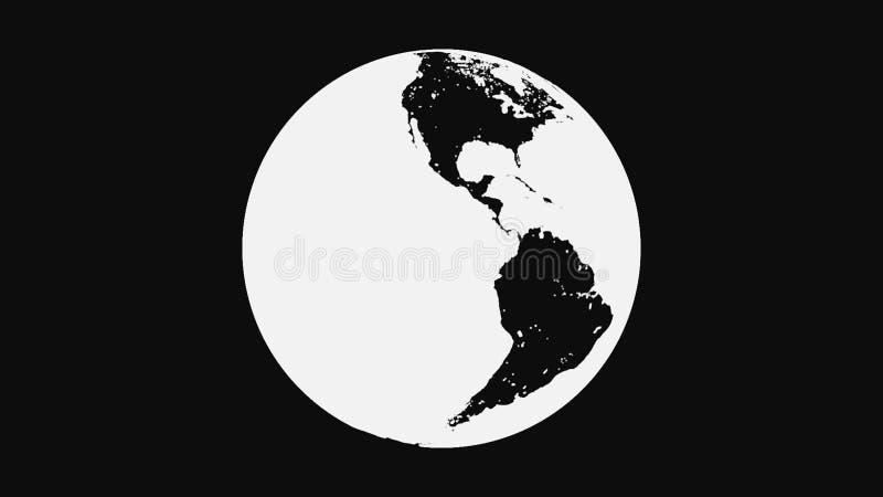 黑白地球行星转动,隔绝在黑背景 摘要,单色地球地球转动 向量例证