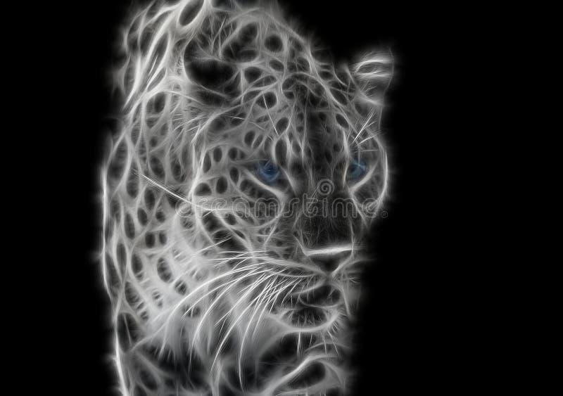 黑白的与蓝眼睛的分数维野生豹子 免版税图库摄影
