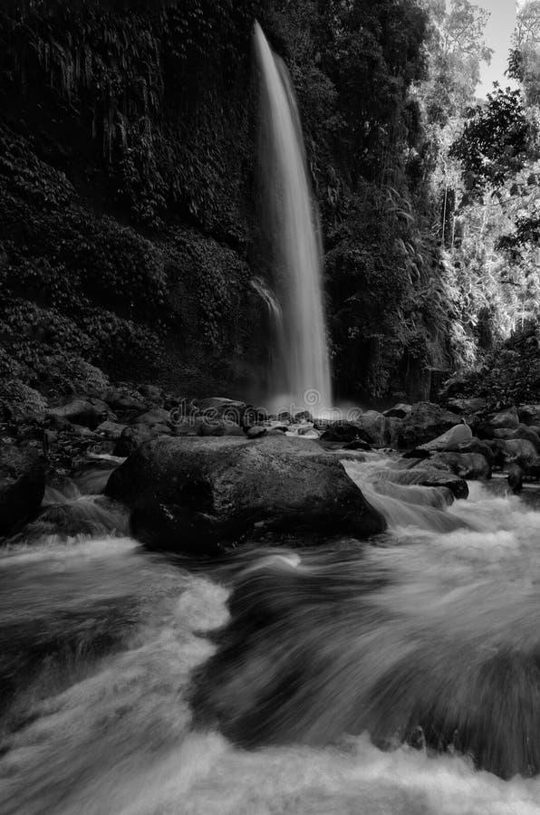 黑白Sendeng Gile瀑布在龙目岛,印度尼西亚 免版税库存照片