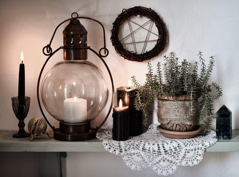 黑蜡烛、五角星形在墙壁上和多汁植物有鞋带的在架子 库存照片
