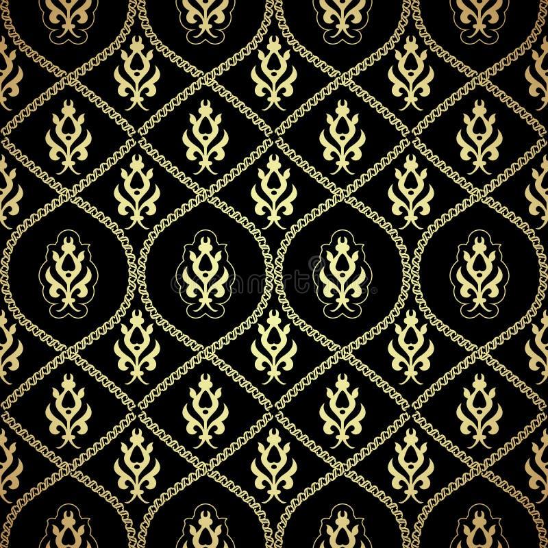 黑色和金锦缎背景 向量例证