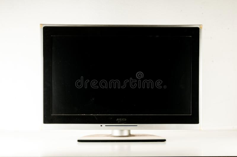 黑LCD电视屏幕 库存图片