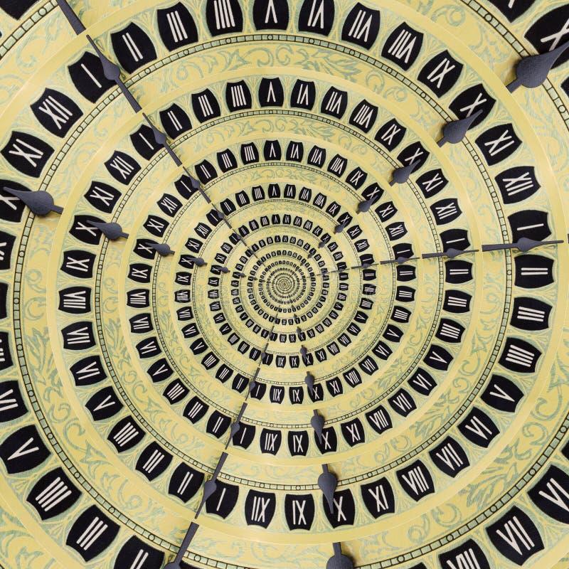 黄色减速火箭的老时钟螺旋摘要背景 古色古香的时钟分数维背景 时间螺旋超现实的时钟 免版税图库摄影