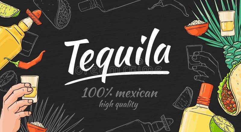 龙舌兰酒手拉的背景用墨西哥炸玉米饼和胡椒、瓶和射击、石灰和龙舌兰 皇族释放例证