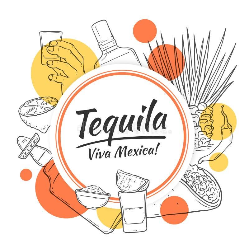 龙舌兰酒背景和模板形状,红色和黄色圈子,文本 向量例证