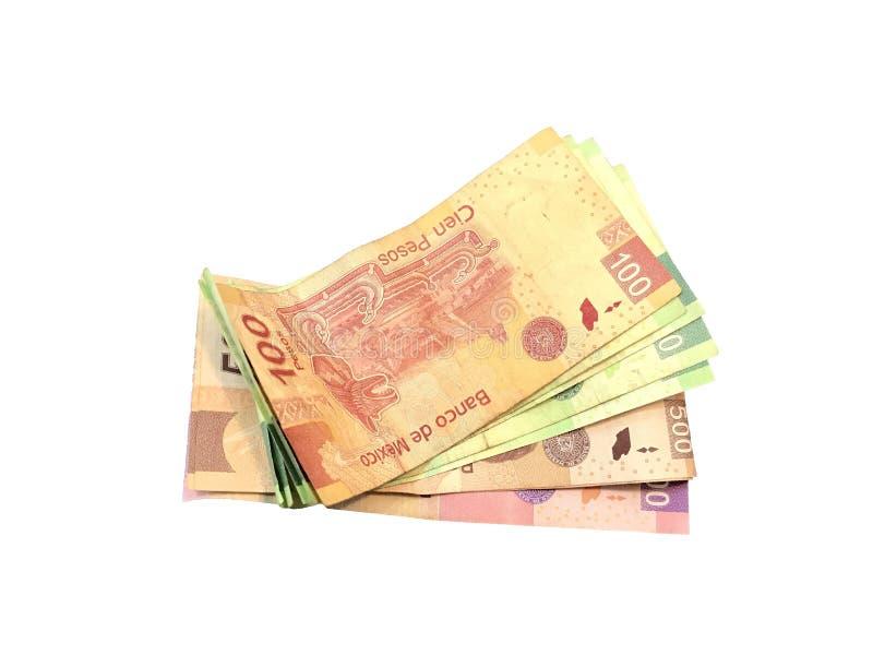 Één of andere Mexicaanse peso 100 200 500 en 1000 die rekeningen op witte achtergrond worden geïsoleerd royalty-vrije stock fotografie