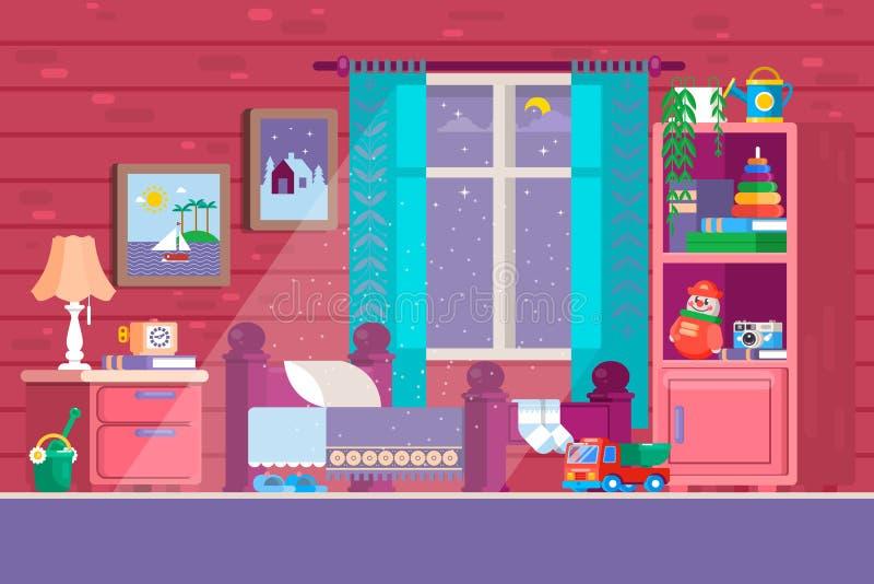 Één of andere Slaapkamer van het Jonge geitje Illustratie van een slaapkamer van beeldverhaalkinderen met jongen of meisjeslevens stock illustratie