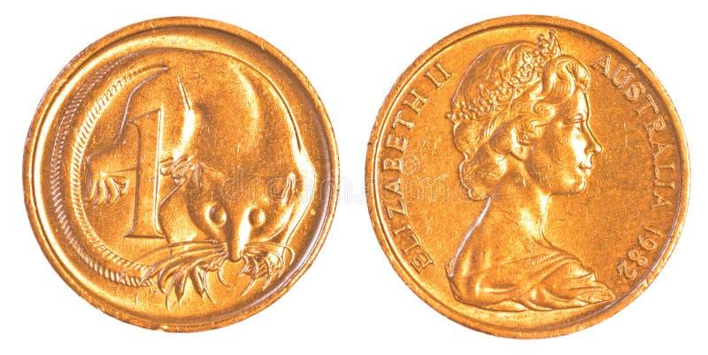 Één Australisch centmuntstuk royalty-vrije stock foto
