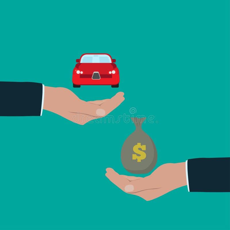 Één auto van de Handholding een andere zak van de handholding geld royalty-vrije illustratie
