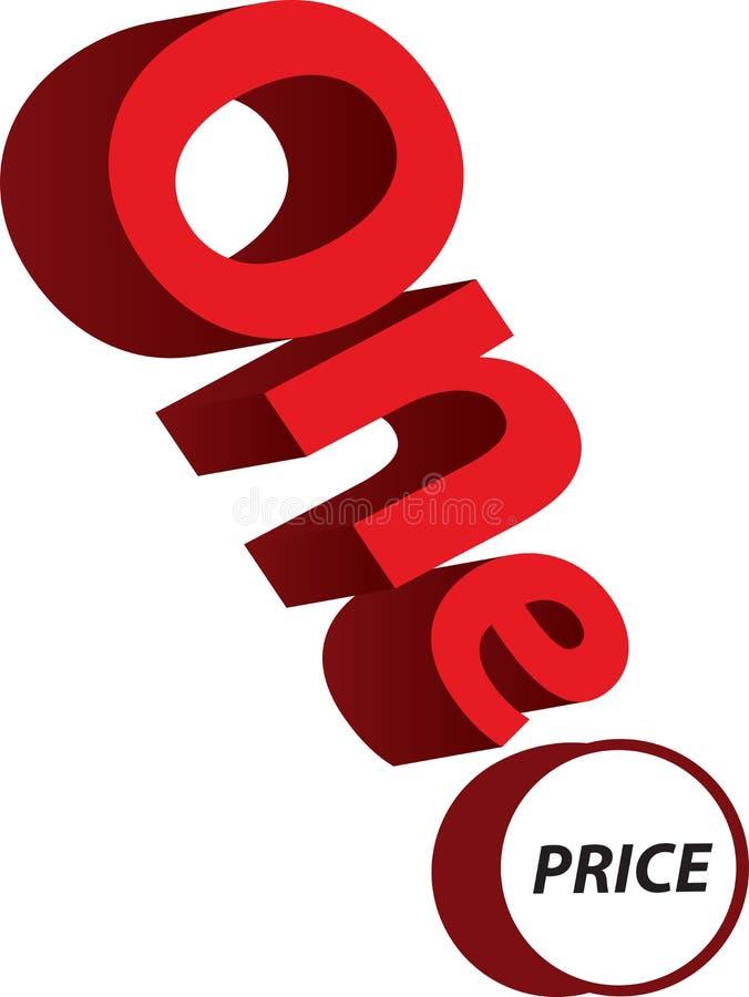 Één 3d vectorontwerp van de prijstekst voor zaken - Illustratio royalty-vrije stock afbeeldingen