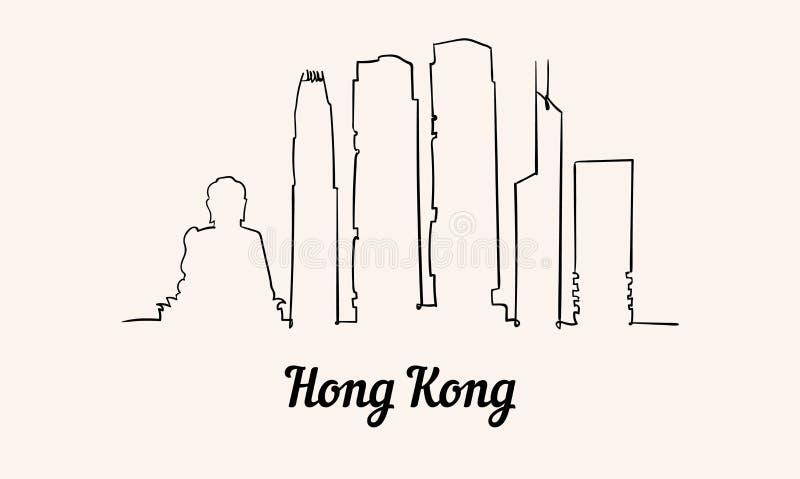 Één de schetsillustratie van Hong Kong van de lijnstijl vector illustratie