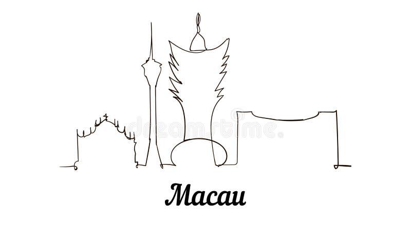 Één de schetsillustratie van Macao van de lijnstijl vector illustratie