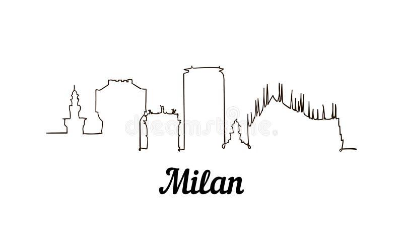Één de schetsillustratie van Milaan van de lijnstijl stock illustratie