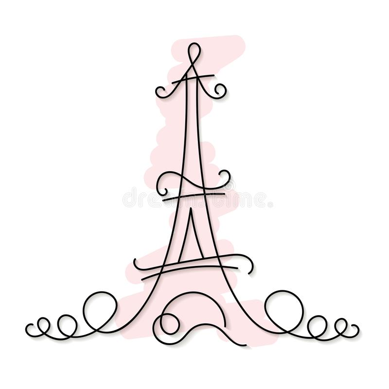 Één de stadshorizon van Parijs van de lijnstijl Eenvoudige moderne minimalistic stijlvector royalty-vrije illustratie