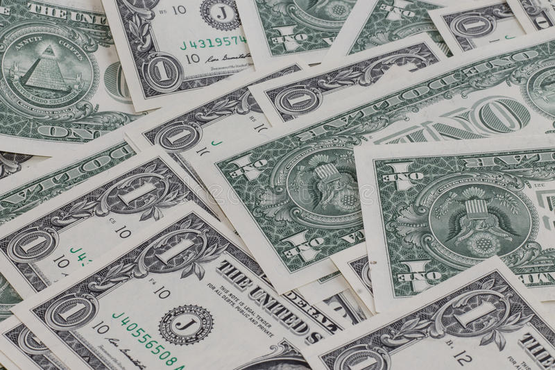 Één dollar backgroung royalty-vrije stock foto's