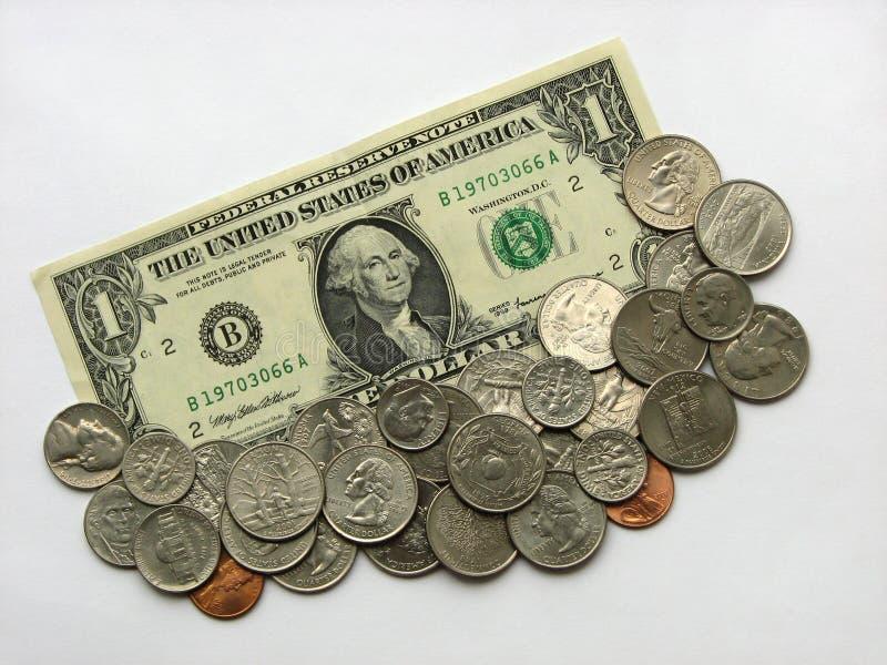 Één dollar en muntstukken, geld, munt van de V.S. royalty-vrije stock foto