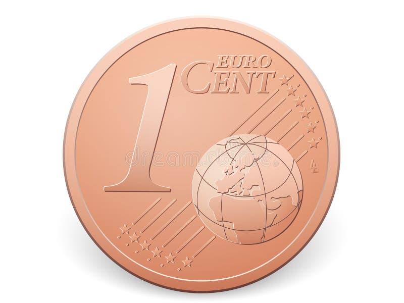 Één euro centmuntstuk stock illustratie
