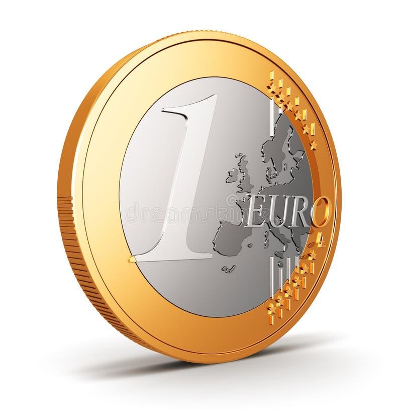 Één Euro muntstuk dat op wit wordt geïsoleerdm royalty-vrije illustratie