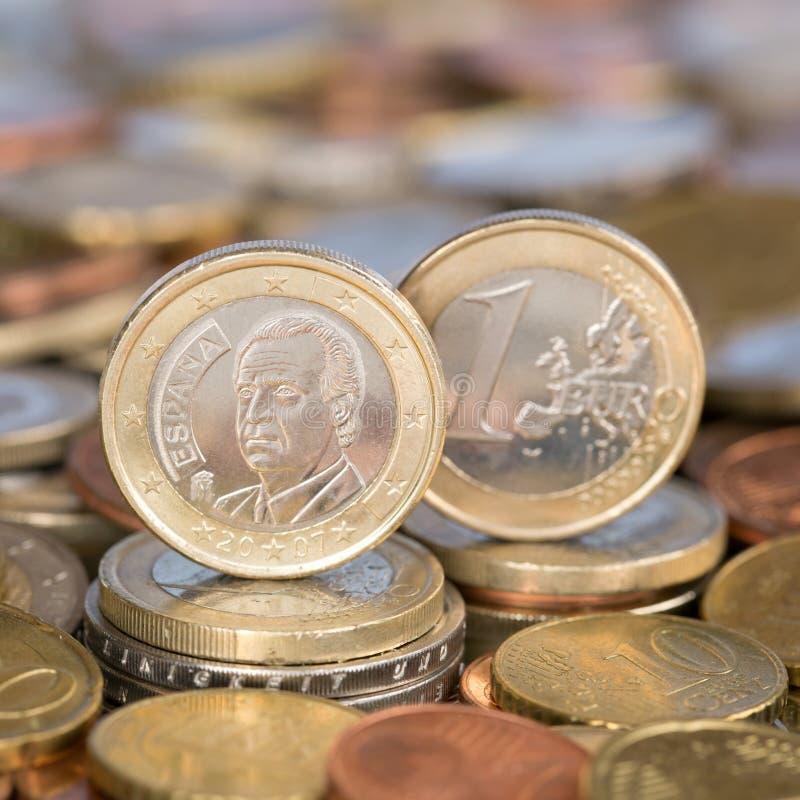 Één Euro muntstuk Spanje stock afbeeldingen