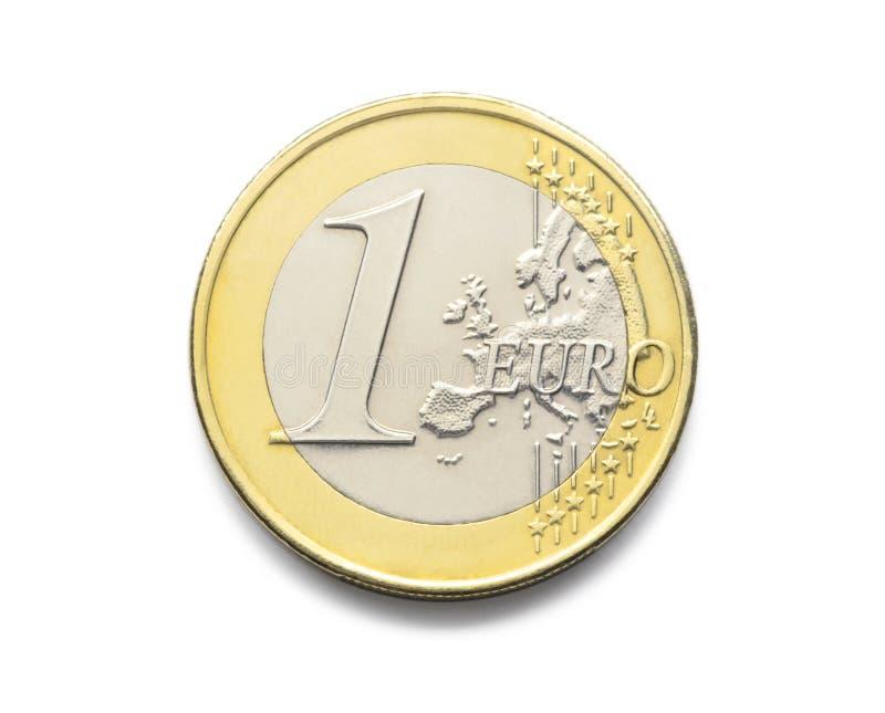 Één Euro muntstuk 1 euro muntstuk van het Europese realistische verstand van het fotobeeld royalty-vrije stock afbeelding