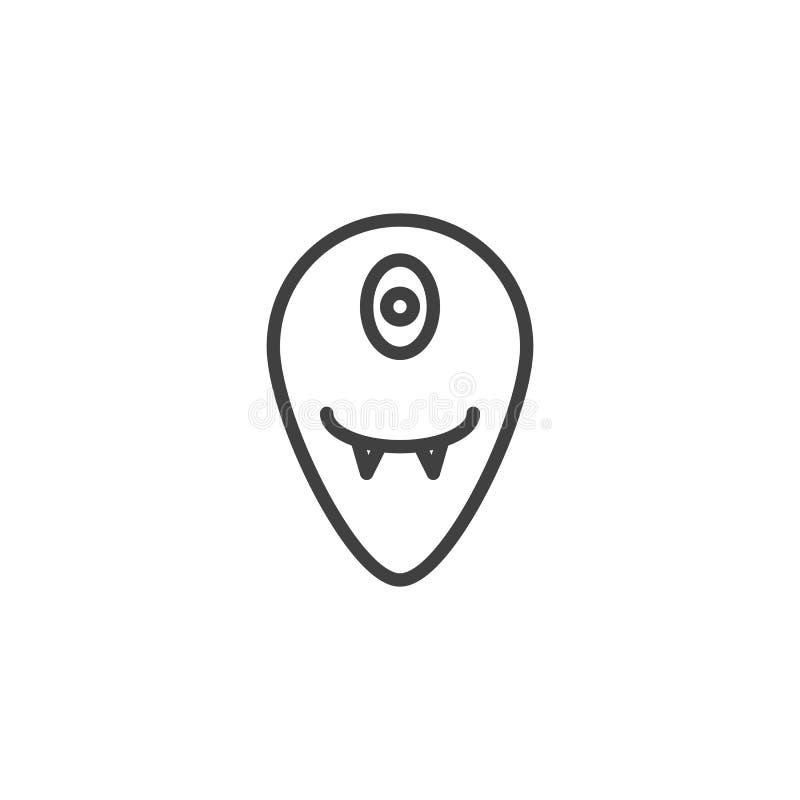 Één eyed vreemd lijnpictogram vector illustratie