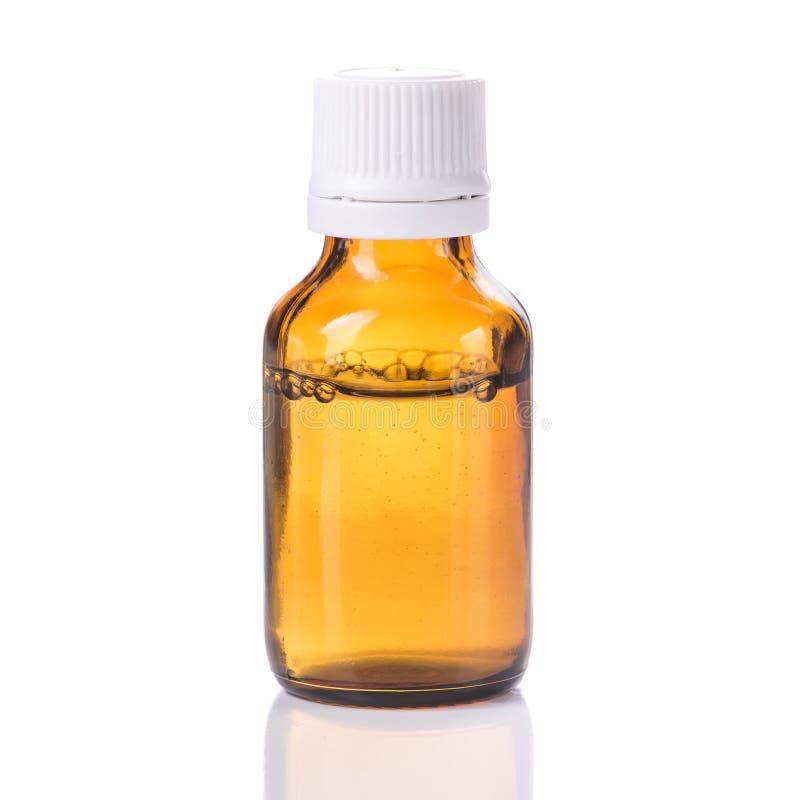 Één fles met vloeibare geneeskunde stock afbeeldingen