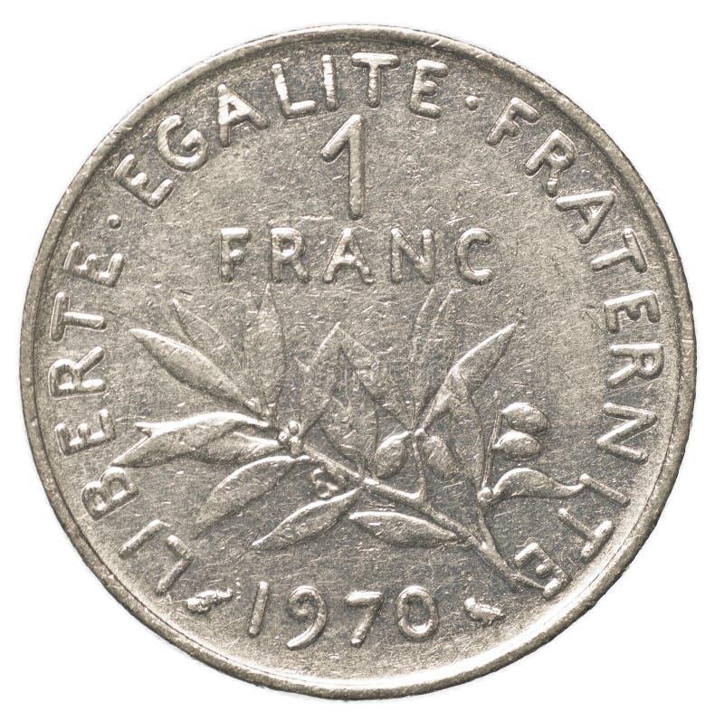 één Frans frankmuntstuk royalty-vrije stock afbeeldingen