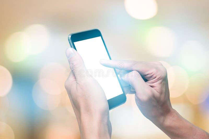 Één gebruikend smartphone royalty-vrije stock foto