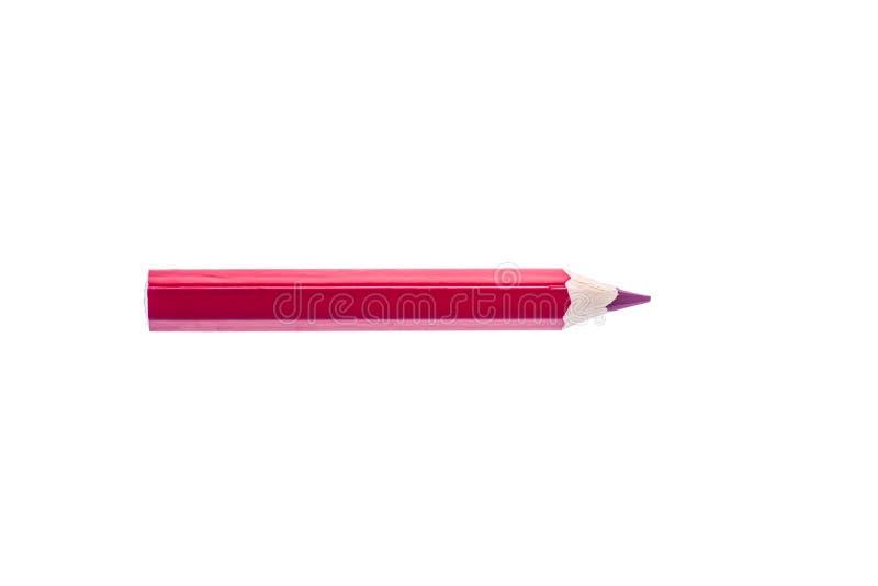 Één gekleurd Rood potlood dat op witte achtergrond wordt geïsoleerd stock afbeelding